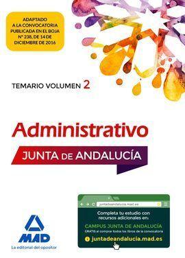 ADMINISTRATIVO DE LA JUNTA DE ANDALUCÍA TURNO LIBRE. TEMARIO VOLUMEN 2