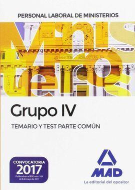 PERSONAL LABORAL MINISTERIOS GRUPO 4 TEMARIO-TEST
