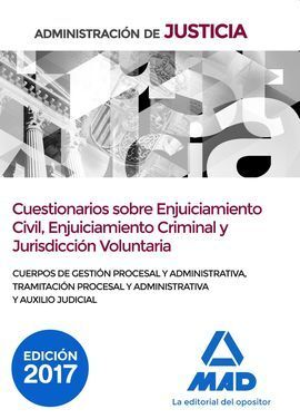 CUESTIONARIOS SOBRE ENJUICIAMIENTO CIVIL, CRIMINAL Y JURISDICCION VOLUNTARIA