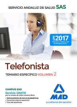 TELEFONISTAS DEL SERVICIO ANDALUZ DE SALUD. TEMARIO ESPECÍFICO VOLUMEN 2