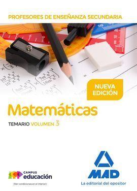 PROFESORES DE ENSEÑANZA SECUNDARIA MATEMÁTICAS TEMARIO VOLUMEN 3