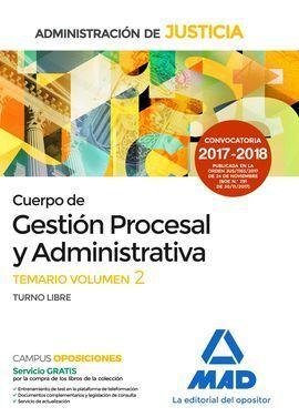 CUERPO DE GESTIÓN PROCESAL Y ADMINISTRATIVA.TEMARIO VOL. II.T. LIBRE