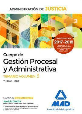 CUERPO DE GESTIÓN PROCESAL Y ADMINISTRATIVA.TEMARIO VOL. III.T. LIBRE