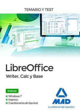LIBREOFFICE: WRITER, CALC BASE. TEMARIO Y TEST