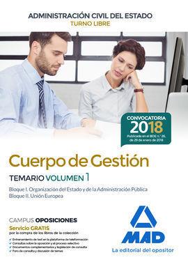 CUERPO DE GESTIÓN DE LA ADMINISTRACIÓN CIVIL DEL ESTADO. TEMARIO VOLUMEN 1