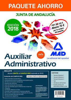 PAQUETE AHORRO AUXILIAR ADMINISTRATIVO JUNTA DE ANDALUCÍA. AHORRA 75 ? (INCLUYE