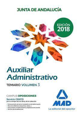 TEMARIO VOL 3. AUXILIAR ADMINISTRATIVO JUNTA DE ANDALUCIA