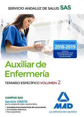 TEMARIO ESPECIFICO VOL 2. AUXILIAR DE ENFERMERIA SAS