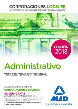 ADMINISTRATIVO DE LAS CORPORACIONES LOCALES. TEST DEL TEMARIO GENERAL