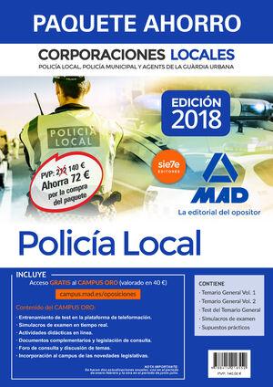 PAQUETE AHORRO POLICÍA LOCAL DE CORPORACIONES LOCALES. AHORRO DE 72 € (INCLUYE T