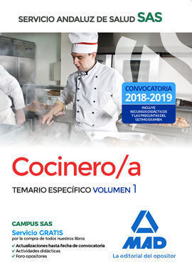 COCINERO/A DEL SERVICIO ANDALUZ DE SALUD. TEMARIO ESPECIFICO VOLUMEN 1