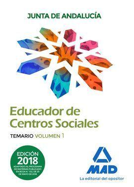 EDUCADORES DE CENTROS SOCIALES.TEMARIO VOLUMEN 1. PERSONAL LABORAL DE LA JUNTA DE ANDALUCÍA.