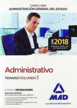 ADMINISTRATIVO DE LA ADMINISTRACIÓN GENERAL DEL ESTADO (TURNO LIBRE). TEMARIO VO