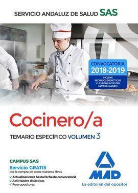 COCINERO/A DEL SERVICIO ANDALUZ DE SALUD. TEMARIO ESPECÍFICO  VOLUMEN 3
