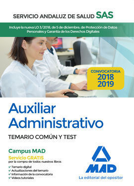 AUXILIAR ADMINISTRATIVO DEL SERVICIO ANDALUZ DE SALUD. TEMARIO COMÚN Y TEST