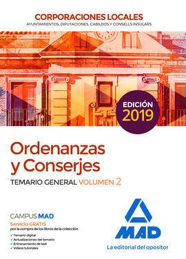 ORDENANZAS Y CONSERJES DE CORPORACIONES LOCALES. TEMARIO GENERAL VOLUMEN 2