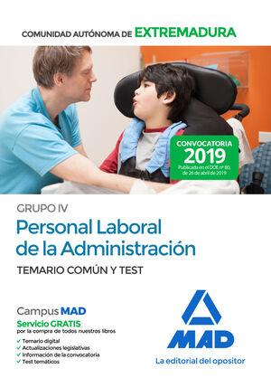 GRUPO IV PERSONAL LABORAL DE LA ADMINISTRACIÓN DE LA COMUNIDAD AUTÓNOMA DE EXTRE