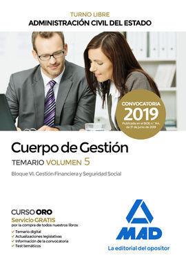 CUERPO DE GESTIÓN DE LA ADMINISTRACIÓN CIVIL DEL ESTADO (TURNO LIBRE). TEMARIO V