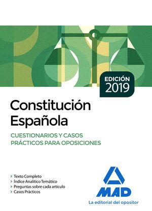 CONSTITUCIÓN ESPAÑOLA. CUESTIONARIOS Y CASOS PRÁCTICOS PARA OPOSICIONES