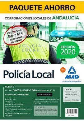 POLICÍA LOCAL DE ANDALUCÍA. PAQUETE AHORRO INCLUYE TEMARIO VOLÚMENES 1 Y 2; TEST; SUPUESTOS PRÁCTICOS Y ACCESO GRATIS A CURSO ORO
