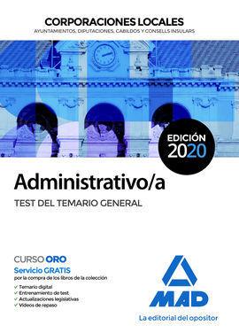 ADMINISTRATIVO/A DE CORPORACIONES LOCALES. TEST DEL TEMARIO GENERAL