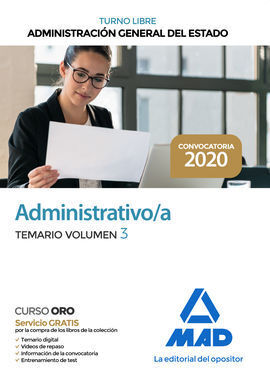 ADMINISTRATIVO DE LA ADMINISTRACION GENERAL DEL ESTADO (TURNO LIBRE). TEMARIO VO