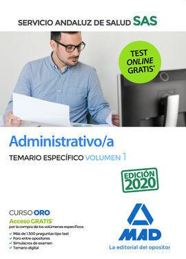ADMINISTRATIVO/A DEL SERVICIO ANDALUZ DE SALUD. TEMARIO ESPECÍFICO VOLUMEN 1