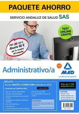 PAQUETE AHORRO Y TEST ONLINE GRATIS ADMINISTRATIVO DEL SERVICIO ANDALUZ DE SALUD