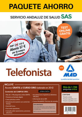 PAQUETE AHORRO Y TEST ONLINE GRATIS TELEFONISTA DEL SERVICIO ANDALUZ DE SALUD. A
