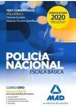 POLICÍA NACIONAL ESCALA BÁSICA. TEST COMENTADOS VOLUMEN 2 CIENCIAS SOCIALES Y MA