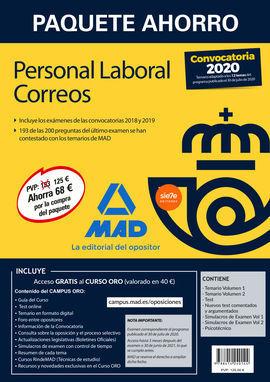 PAQUETE AHORRO PERSONAL LABORAL CORREOS 2020. AHORRA 68 Ç (INCLUYE TEMARIOS 1 Y