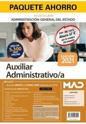 2021 PAQUETE AHORRO AUXILIAR ADMINISTRATIVO. ADMINISTRACIÓN GENERAL DEL ESTADO (ACCESO LIBRE)
