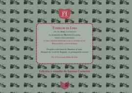 TEMBLOR DE LIMA Y OTROS POEMAS AL MARQUÉS DE MONTESCLAROS, VIRREY DEL PERÚ (1607