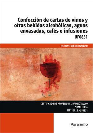 CONFECCION DE CARTAS DE VINOS Y OTRAS BEBIDAS ALCOHOLICAS, AGUAS