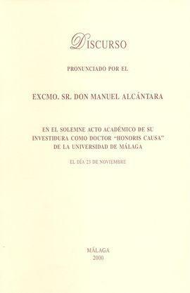 DISCURSO PRONUNCIADO POR EL EXCMO. SR. DON MANUEL