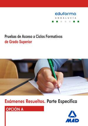 EXÁMENES RESUELTOS OPCIÓN A ( ANDALUCÍA ) DE PRUEBAS DE ACCESO A CICLOS FORMATIVOS DE GRADO SUPERIOR PARTE ESPECÍFICA