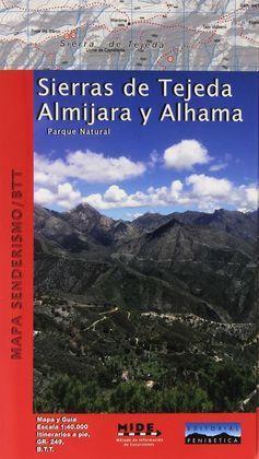 SIERRAS DE TEJEDA ALMIJARA Y ALHAMA MAPA SENDERISMO